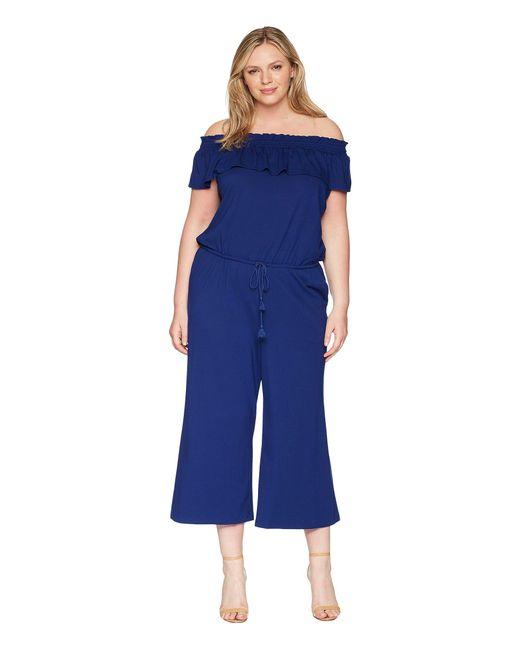 Lauren by Ralph Lauren - Blue Off The Shoulder Wide-leg Jumpsuit - Lyst