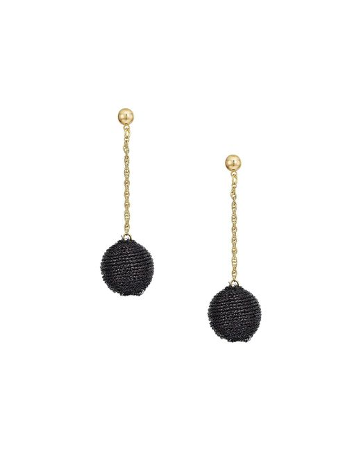 Kenneth Jay Lane - Black Thread Wrapped Ball On Gold Chain Drop Post Earrings - Lyst