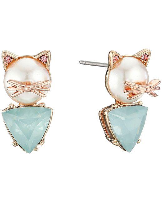 Betsey Johnson - Blue Pearl Critters Cat Stud Earrings - Lyst
