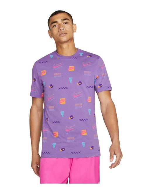Nike Purple Nsw Sp Brandmarks All Over Print Tee Clothing for men