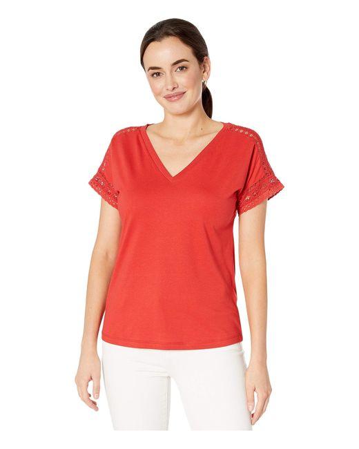 Lauren by Ralph Lauren Red Lace-trim Top