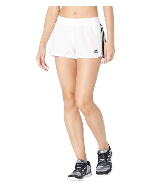 Adidas White Pacer 3-stripes Woven Shorts Shorts