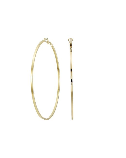 "Kenneth Jay Lane - Metallic Large Polished Gold 3.5"" Drop Hoop Pierced Earrings - Lyst"