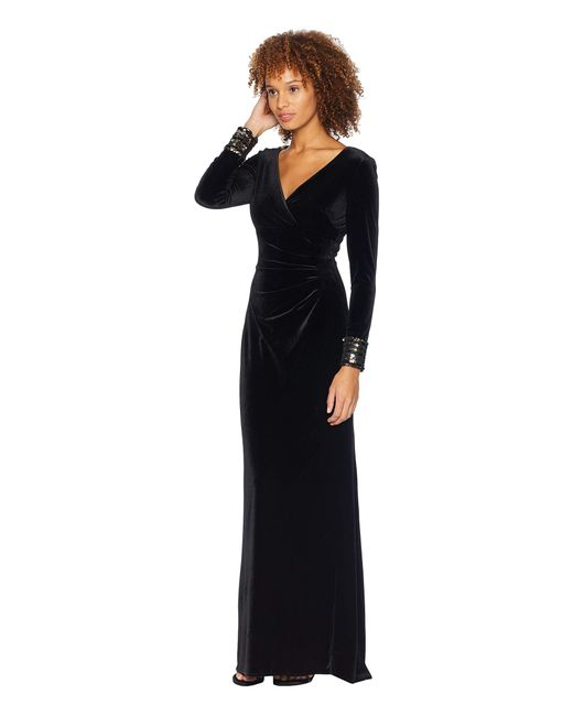 Lyst Vince Camuto Sequin Cuff Stretch Velvet Gown In Black