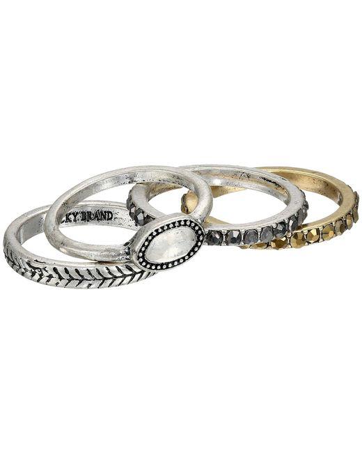 Lucky Brand | Metallic Organic Stone Stack Ring | Lyst