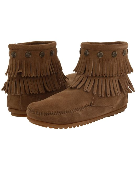 Minnetonka Brown Double Fringe Side Zip Boot