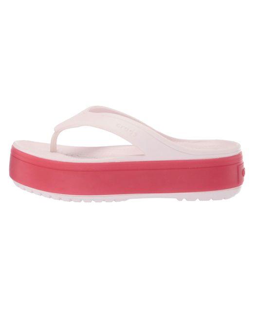 b009407e75f0 ... Crocs™ - Pink Crocband Platform Flip (light Grey rose) Sandals - Lyst  ...