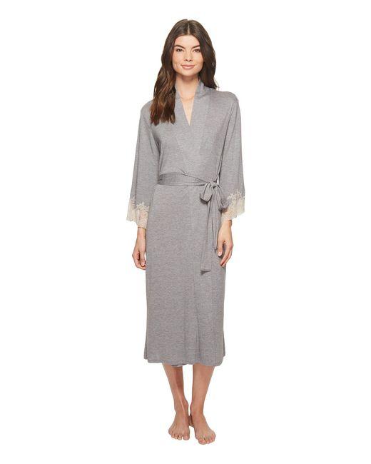 Natori - Gray Luxe Shangri-la Robe (heather Grey) Women's Robe - Lyst