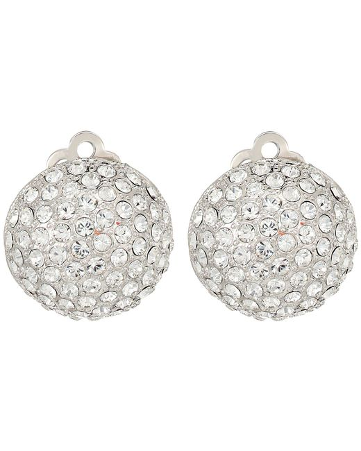 Nina - Multicolor Medium Pave Button Clip Earrings; Elements By Swarovski (rhodium/white) Earring - Lyst