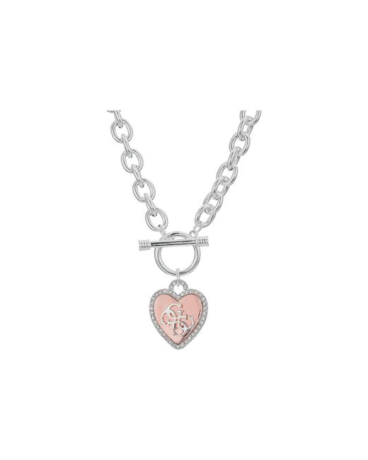 Guess - Metallic Pave Framed Heart Toggle Necklace With 4 G Logo - Lyst