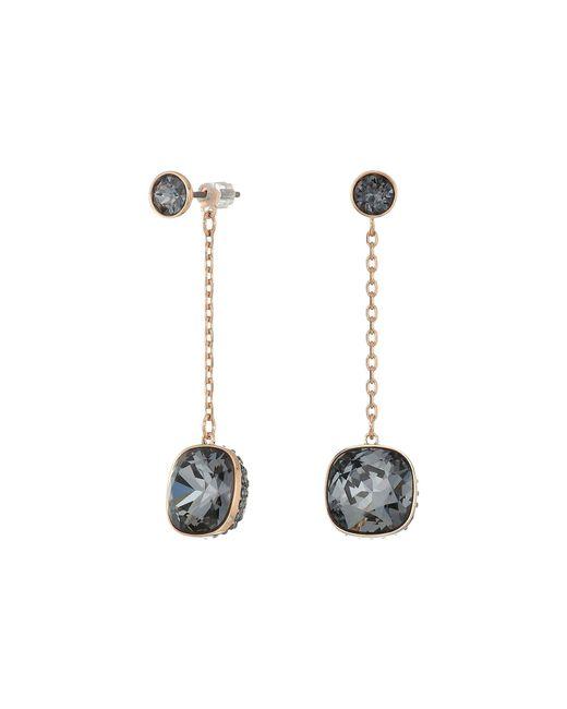Swarovski - Multicolor Lattitude Chain Pierced Earrings (rose Gold Plating/black) Earring - Lyst