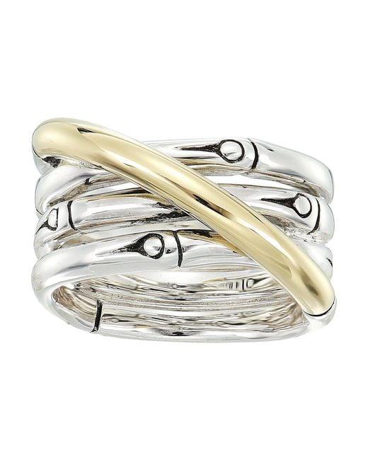 John Hardy - Metallic Bamboo 14mm Band Ring (silver/18k Gold) Ring - Lyst