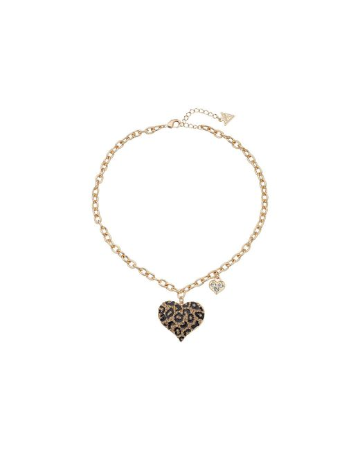 Guess - Multicolor Gone Wild Animal Print Heart Necklace (leopard/gold) Necklace - Lyst