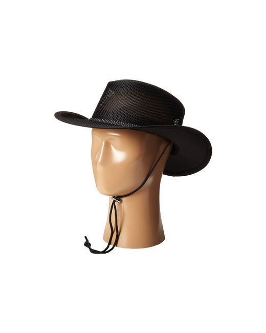 Stetson - Black Mesh Covered Safari With Chin Cord for Men - Lyst
