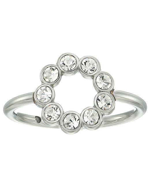 Fossil | Metallic Ring With Circle Of Clear Crystal Glitz | Lyst