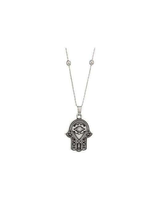 ALEX AND ANI - Metallic Path Of Symbols - Hand Of Fatima Iii Expandable Necklace W/ Swarovski(r) Crystals (rafaelian Silver) Necklace - Lyst
