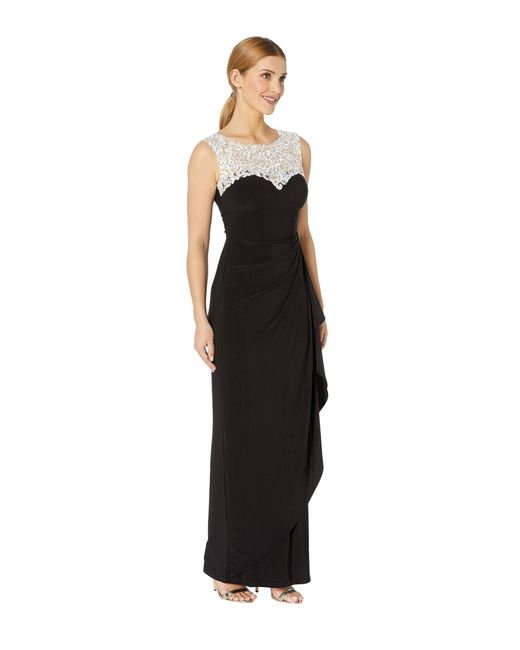 221f1a301b0 ... Alex Evenings - Long Cap Sleeve Dress With Embellished Embroidered  Neckline (black white)