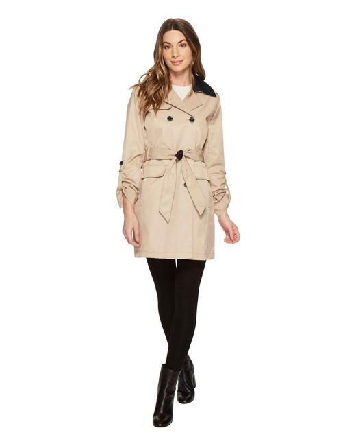 Vince Camuto - Natural Db Belted Trench With Contrast Color And Roll Up Sleeves (khaki) Women's Coat - Lyst