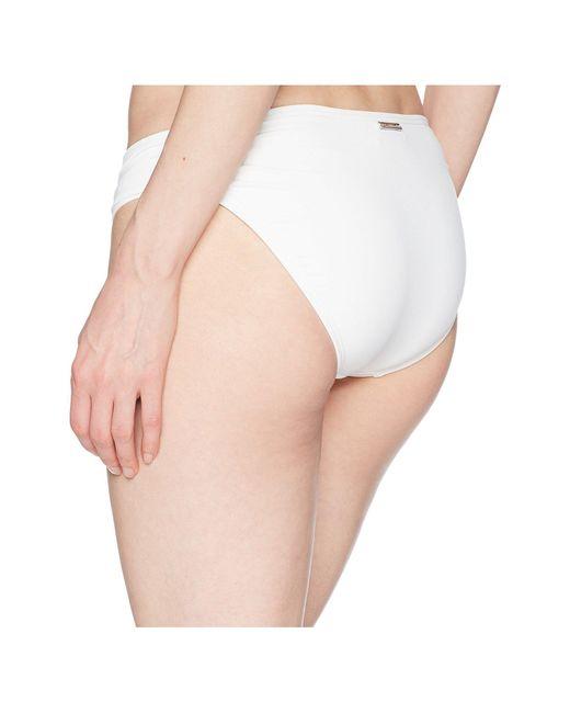 a7a3157c75af0 ... Lyst MICHAEL Michael Kors - Solids Side Shirred Bikini Bottom (white)  Women s Swimwear ...