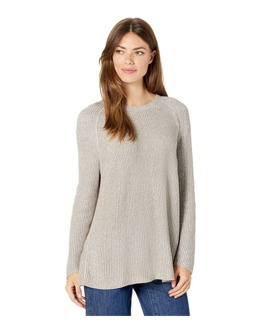 Eileen Fisher Gray Crew Neck Flat Saddle Sweater In Peruvian Organic Cotton