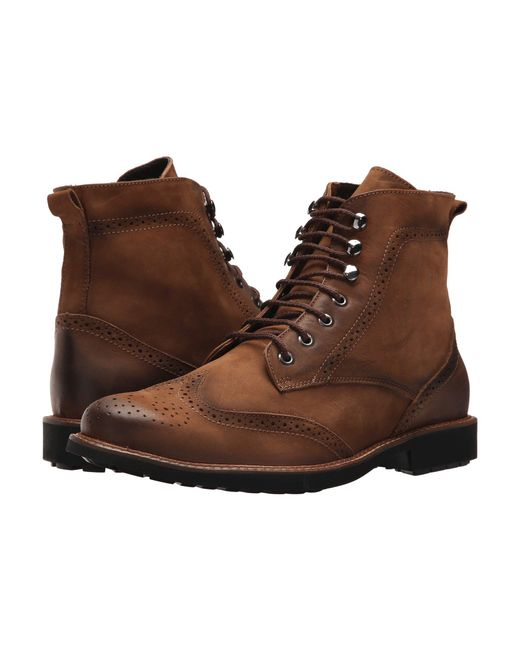Massimo Matteo Brown Perf Wing Boot for men