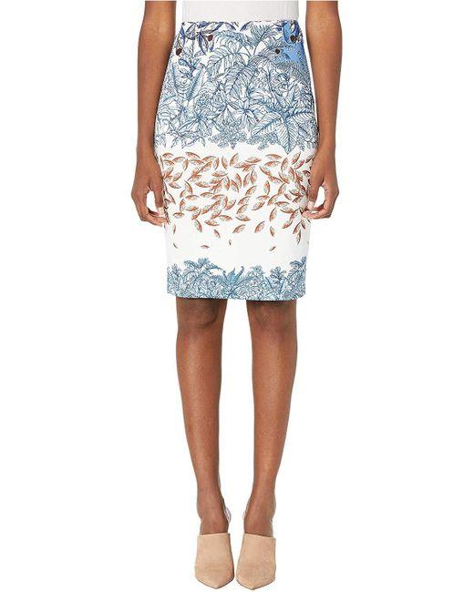 Yigal Azrouël White Printed Scuba Skirt