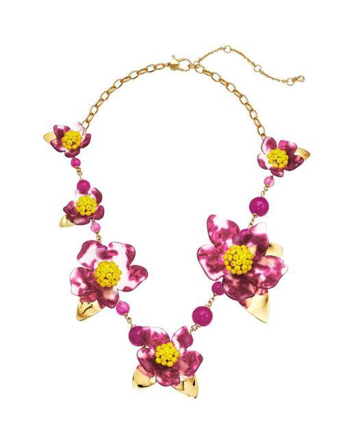 Kate Spade Pink Botanical Garden Resin Statement Necklace