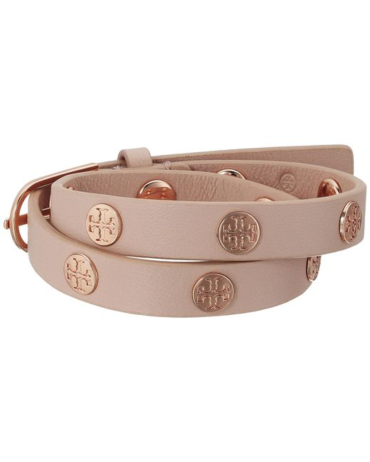 Tory Burch | Pink Double Wrap Logo Stud Bracelet | Lyst
