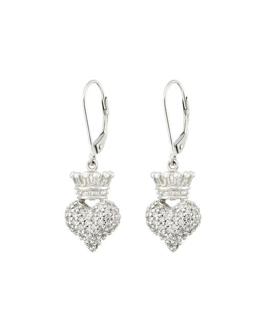 King Baby Studio | Metallic Small 3d Crowned Heart Lever Back Earrings | Lyst