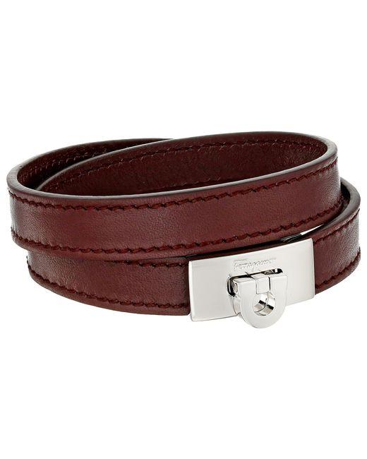 Ferragamo   Brown Leather Wrap Bracelet   Lyst