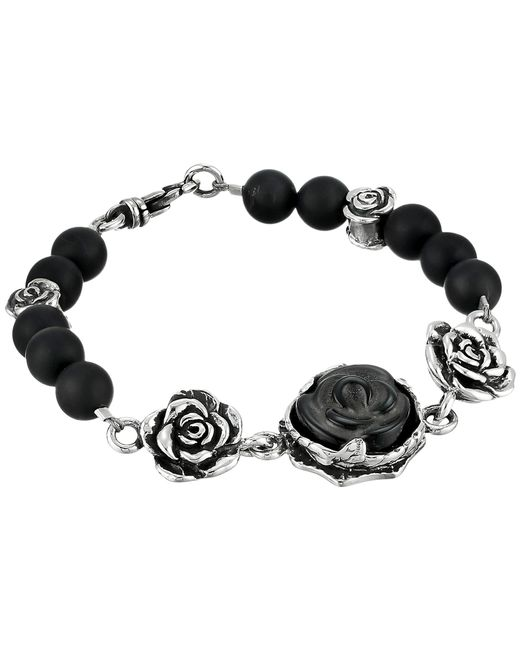 King Baby Studio | Black 8mm Onyx Bead Bracelet With Carved Jet Rose And Silver Roses | Lyst