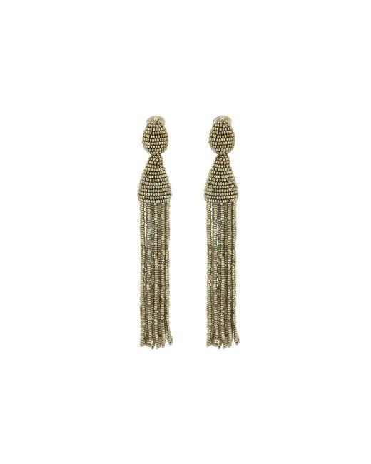 Oscar de la Renta | Blue Long Beaded Tassel Earrings | Lyst