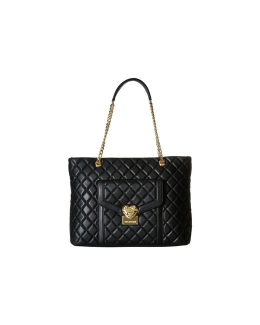 Love Moschino | Black Quilted Tote With Chain | Lyst
