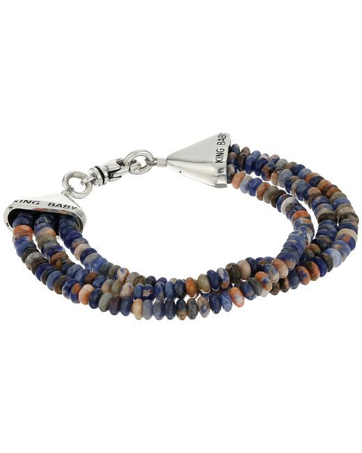King Baby Studio | Multicolor Triple Strand Orange Sodalite Bead Bracelet W/ Cone Clasp | Lyst