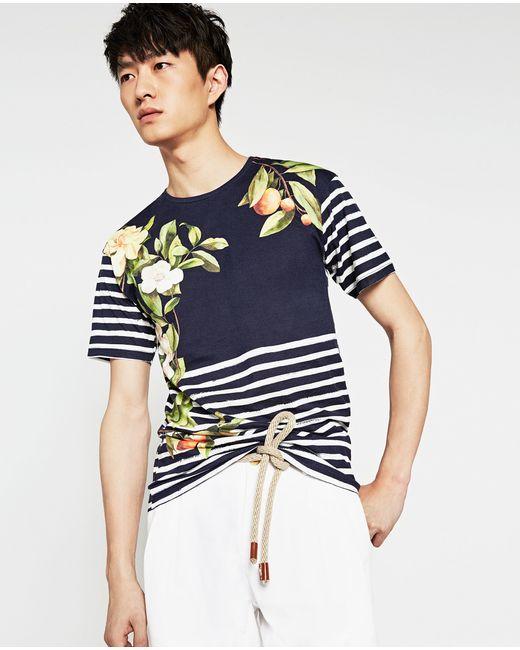 Zara nautical stripe t shirt in floral for men navy blue for Zara mens floral shirt