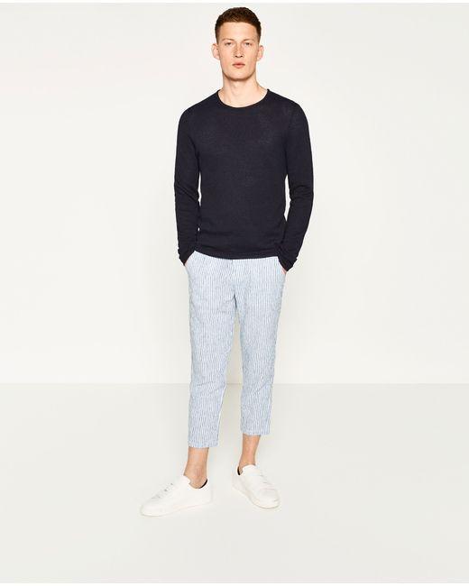 Zara | Blue Textured Weave Sweater for Men | Lyst