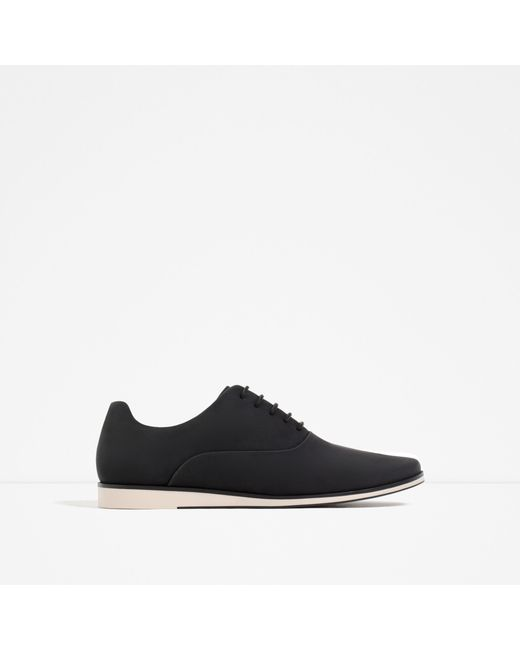 zara oxford style casual shoes in black for lyst