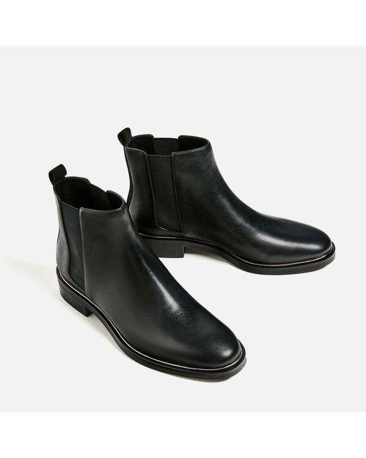 zara faux leather chelsea boots in black lyst