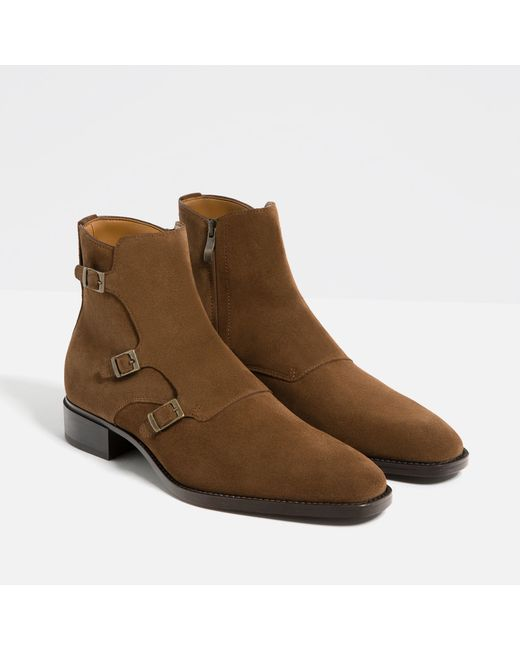 zara special edition brown leather three buckle ankle