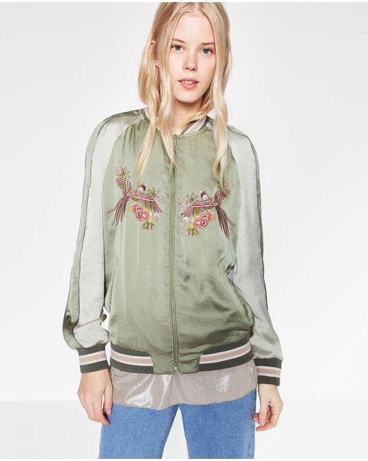 Zara bird embroidered satin bomber jacket in green lyst