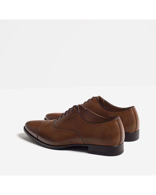 Popular Zara Canvas Oxford Shoe In Beige For Men Sand  Lyst