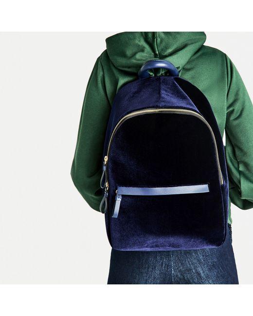 Zara Velvet Backpack In Blue Lyst