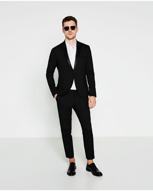 Zara Black Tuxedo Collar Blazer in Multicolour for Men | Lyst
