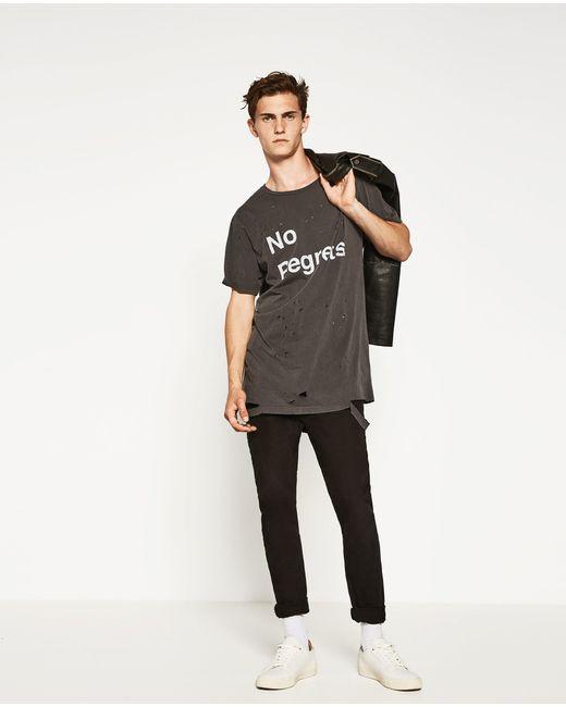 Zara | Gray Ripped T-shirt for Men | Lyst