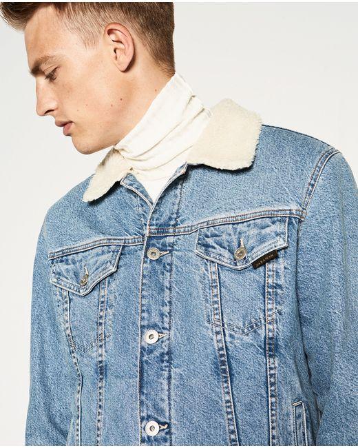 Zara Denim And Sheepskin Jacket In Blue For Men Lyst