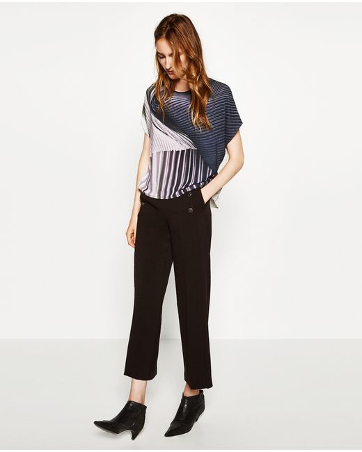 Zara | Multicolor Foil Pleat T-shirt | Lyst