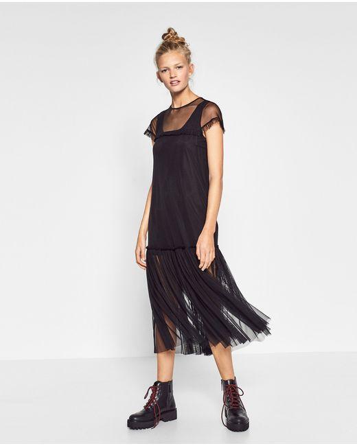 Zara | Multicolor Tulle Midi Dress | Lyst