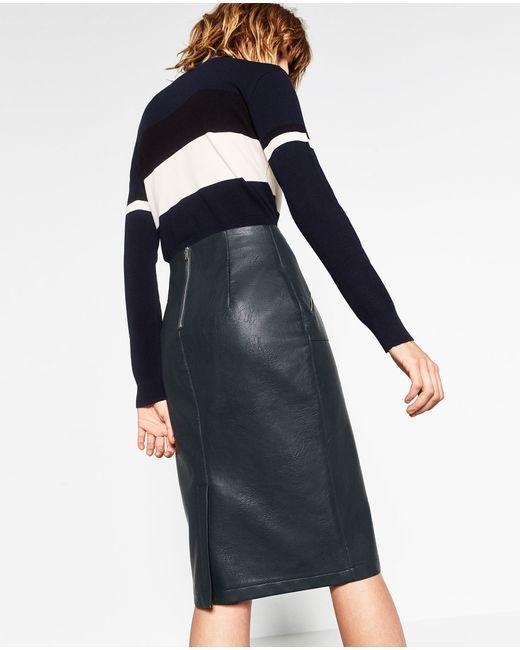 zara faux leather pencil skirt in blue lyst