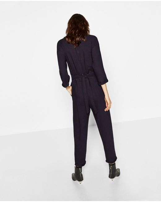 Zara Embroidered Jumpsuit In Blue  Lyst