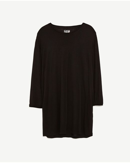 Zara t shirt with three quarter length sleeves in black for Three quarter length shirt